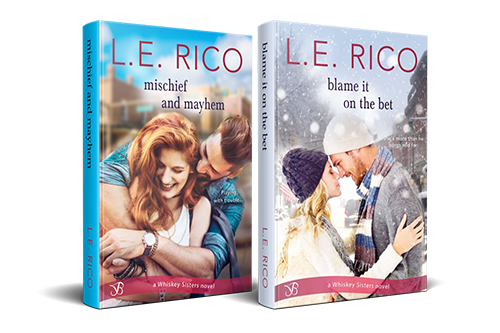 Mischief and Mayhem and Blame it on the Bet book covers, by L.E. Rico
